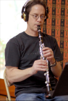 Chris Bleth playing his Peter Eaton Elite clarinet at a recording session for Caprica